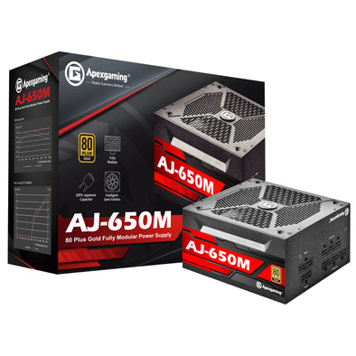 Apexgaming AJ-650M 650Watt 80 PLUS Gold Fully Modular Power Supply
