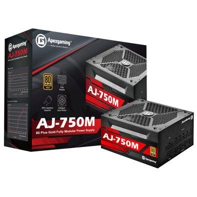 Apexgaming AJ-750M 750Watt 80 PLUS Gold Fully Modular Power Supply