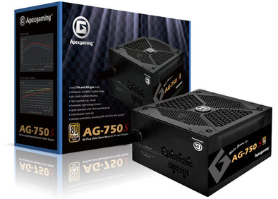 Apexgaming AG-750S 750Watt 80 Plus Gold Semi-Modular Power Supply