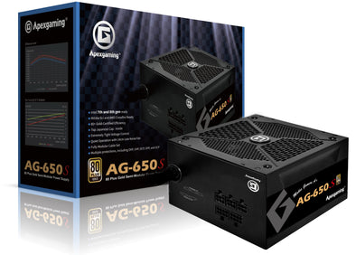Apexgaming AG-650S 650Watt 80 Plus Gold Semi-Modular Power Supply