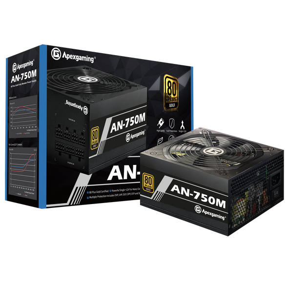 Apexgaming AN-750M 750Watt 80 PLUS Gold Fully Modular Power Supply