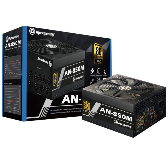 Apexgaming AN-850M 850Watt 80 PLUS Gold Fully Modular Power Supply
