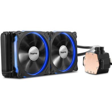 Apexgaming Aluminium CPU Water Cooler Radiator 240 Processor Double PWM 120mm LED Cooling Fan