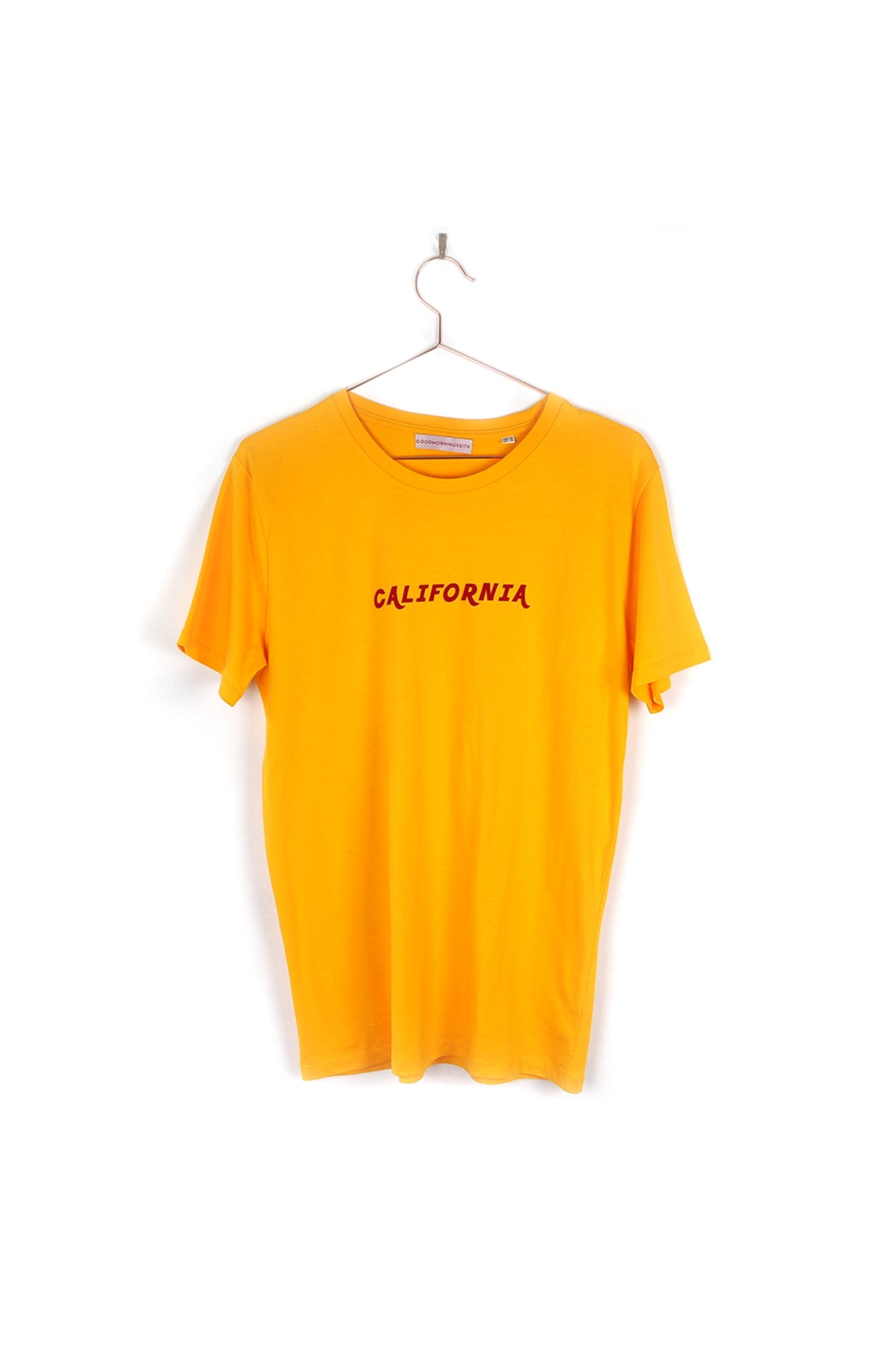 Vintage California spectra yellow tee Good Morning Keith  in red velvet