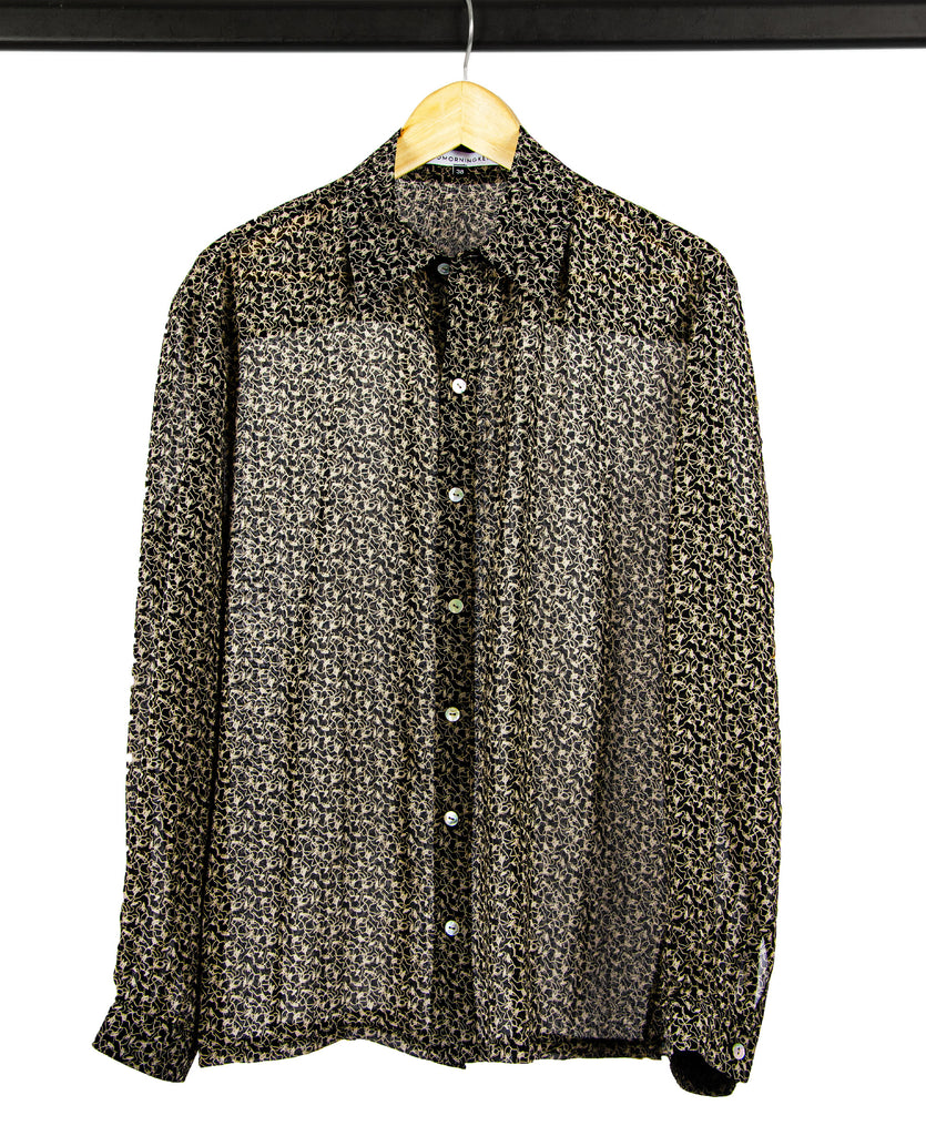 Good Morning Keith Leonard Black Printed Silk Western Shirt