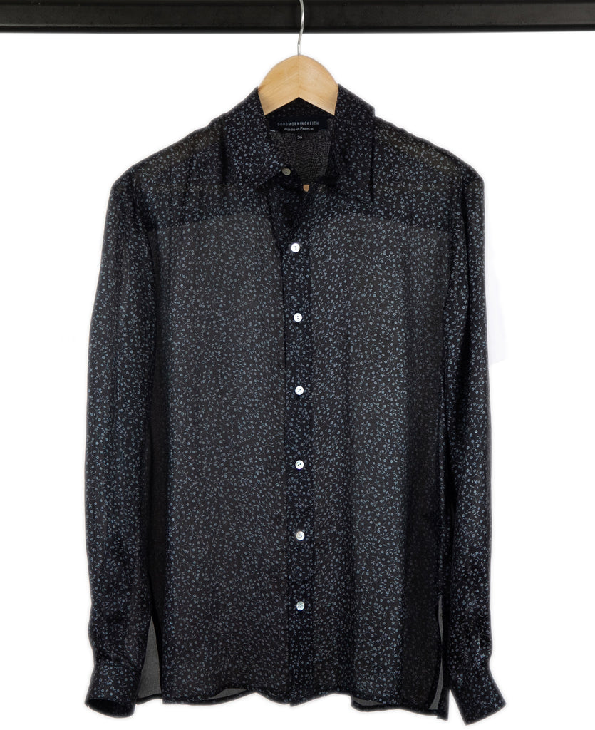 Good Morning Keith Unisex iris black silk shirt