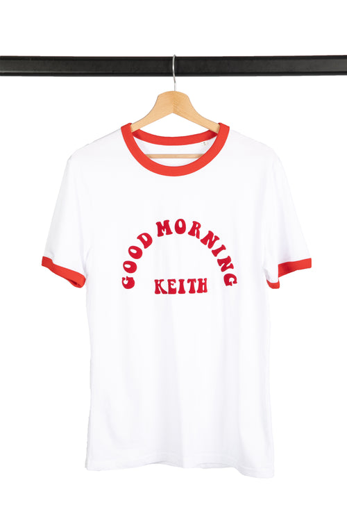 Good Morning Keith Red Ringer Tee