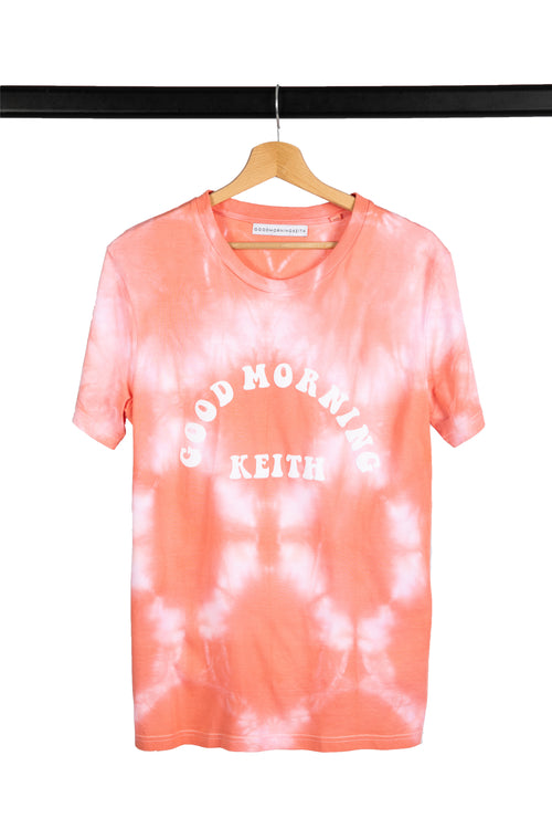 T-shirt Good Morning Keith Tie and Dye effet miroir Corail
