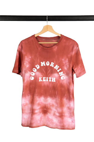 T-SHIRT TIE AND DYE ROND CORAIL