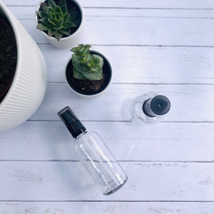 100ml Clear Glass Bottle with Serum Dispenser - Black