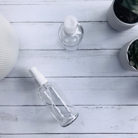 100ml Clear Glass Bottle with Fine Mist Spray - White