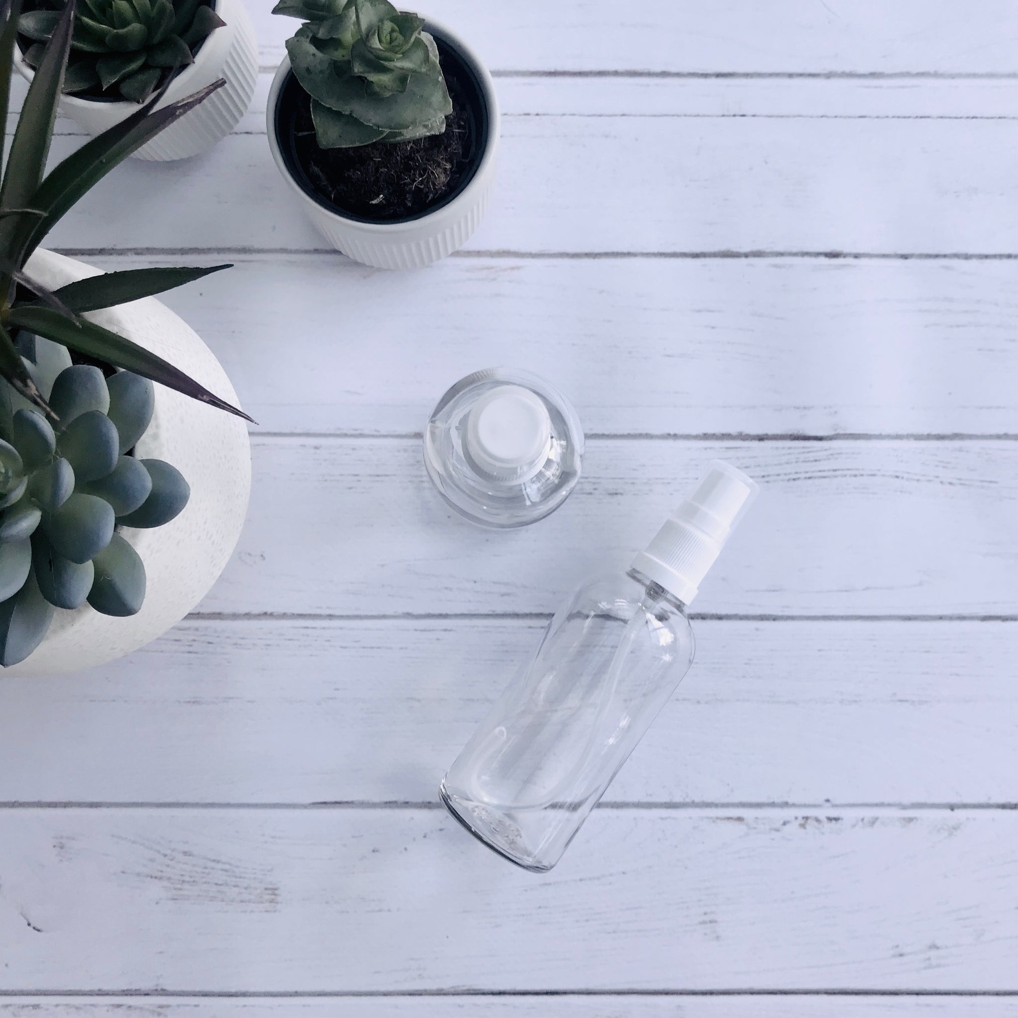 100ml Clear Glass Bottle with Serum Dispenser - White