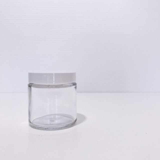 120ml clear glass jar with white lid