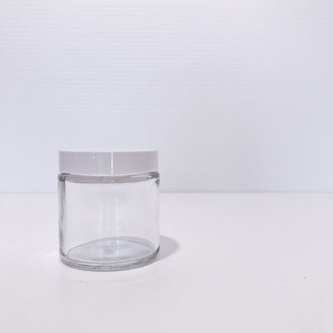 120ml cosmetic clear glass jar with white lid