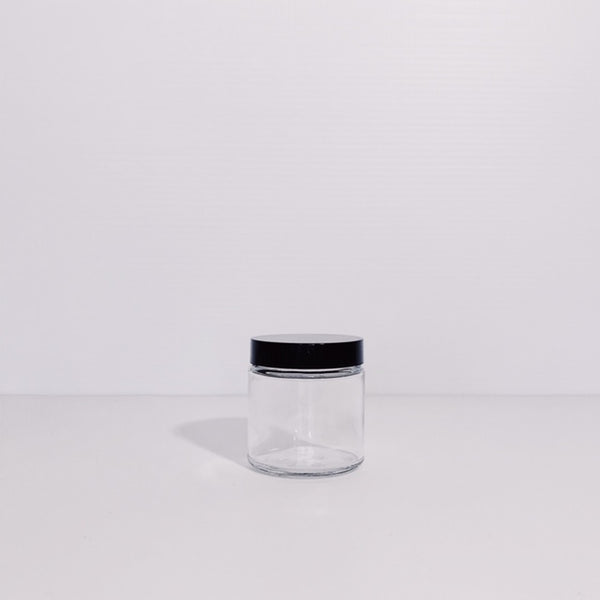 120ml clear glass jar with black lid
