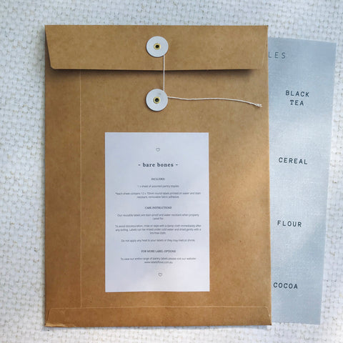 Bare Bones Reusable Pantry Label Pack - 1 Sheet