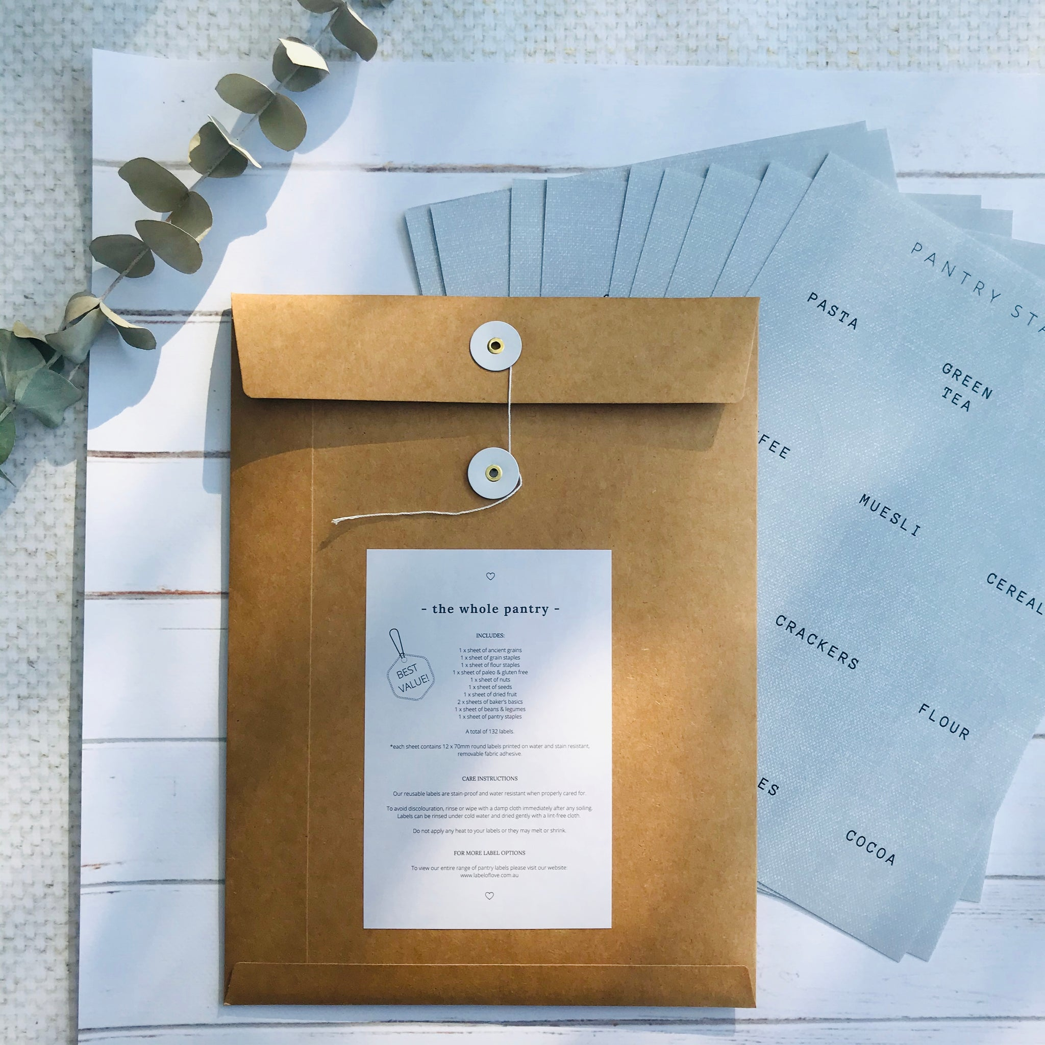 The Whole Pantry Reusable Pantry Label Pack - Set of 11 Sheets