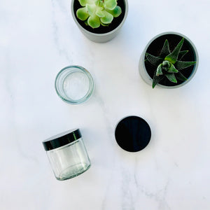60ml clear glass jar with black lid