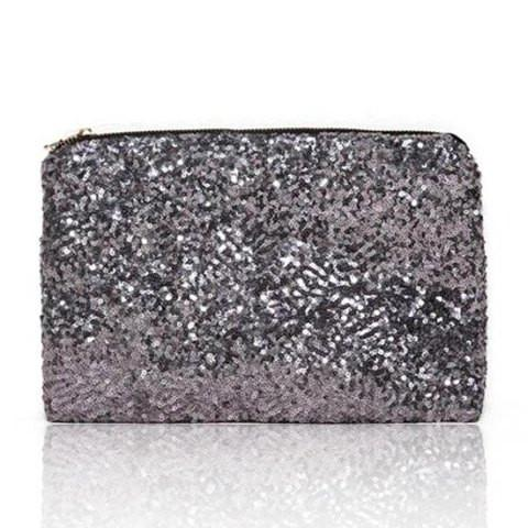 Stunning Sequins And Acrylic Women's Clutch With Solid Color Design   Silver