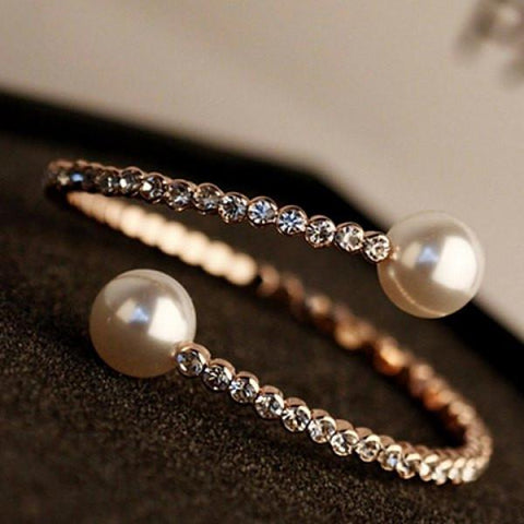 Simple Pearl Rhinestone Solid Color Bracelet For Women   As the picture