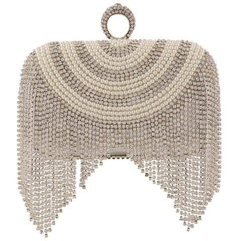 Stunning Women's Evening Bag With Beading and Fringe Design   Silver