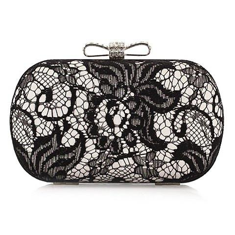 Stunning Women's Evening Bag With Lace and Rhinestones Design   Silver