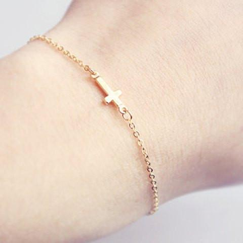 Simple Cross Bracelet For Women   Golden