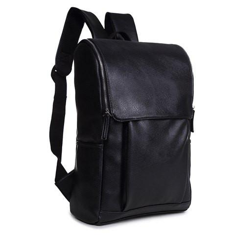 Stylish Men's Backpack With PU Leather and Zipper Design   Black