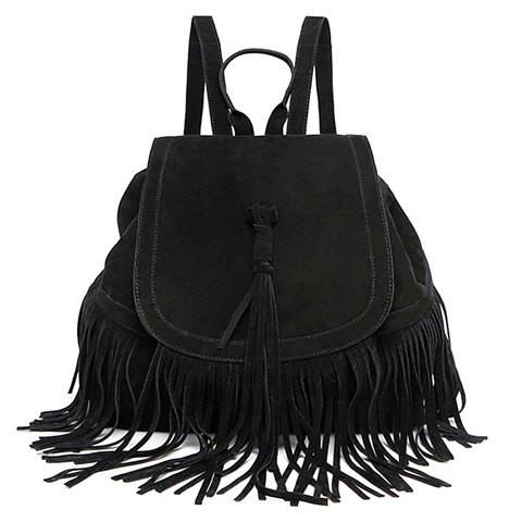 Stylish Women's Satchel With Fringe and Solid Color Design   Black