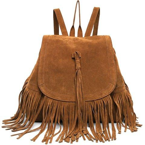 Stylish Women's Satchel With Fringe and Solid Color Design   Deep Brown