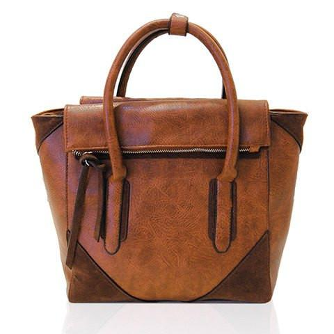 Stylish Women's Tote Bag With Zipper and Splicing Design   Brown