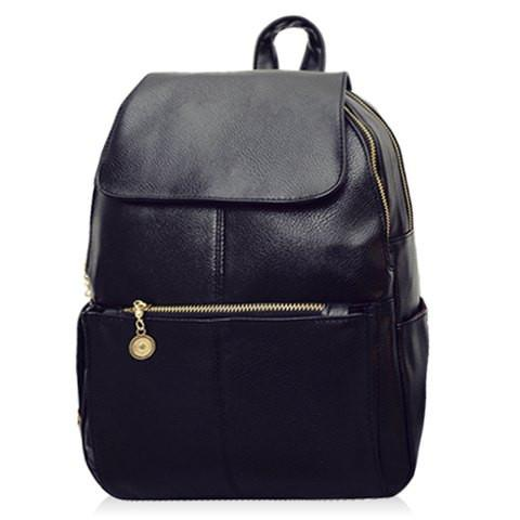 Vintage Style Women's Backpack With PU Leather and Black Design   Black
