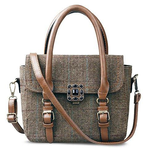 Vintage Women's Tote Bag With Strap and Plaid Design   Brown