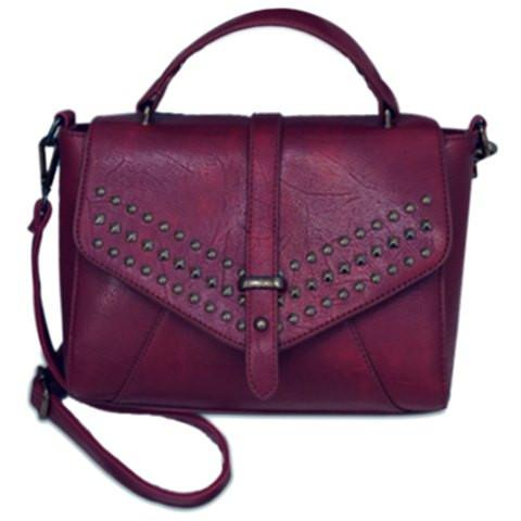 Stylish Women's Tote Bag With PU Leather and Rivets Design   Purple