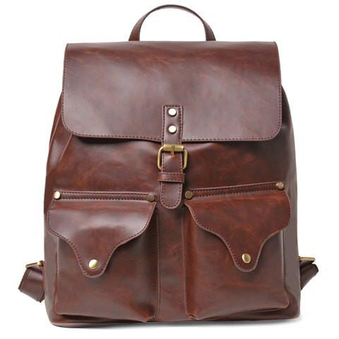Vintage Men's Backpack With Drawstring and Pin Buckle Design   Coffee