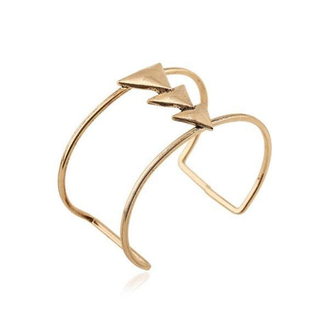 Stylish Triangle Two-Layered Cuff Bracelet For Women   Golden