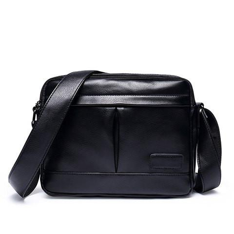 Simple Men's Messenger Bag With PU Leather and Black Color Design   Black