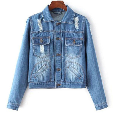 Stylish Long Sleeve Pocket Design Denim Jacket For Women Blue
