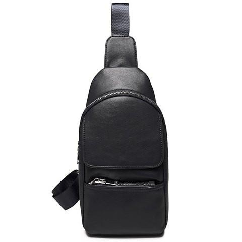 Simple Men's Messenger Bag With Solid Color and Zip Design   Black