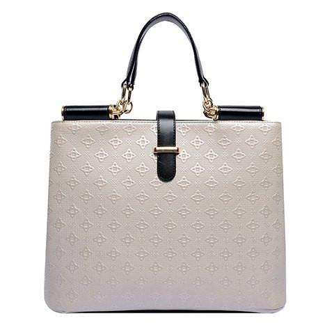 Stylish Women's Tote Bag With Metal and Embossing Design   Off-White