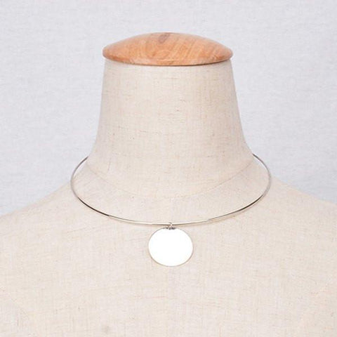 Stylish Solid Color Round Necklace For Women   Silver