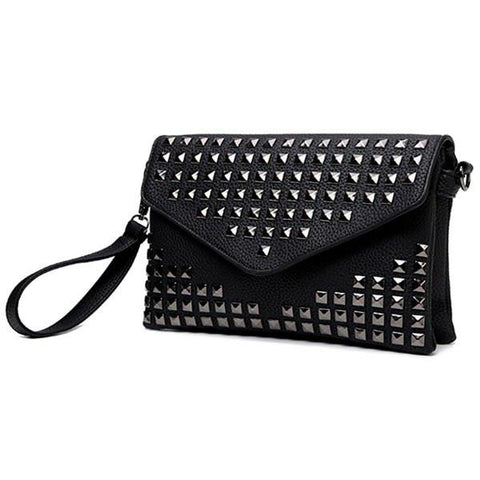 Stylish Women's Clutch Bag With Rivet and Solid Color Design   Black