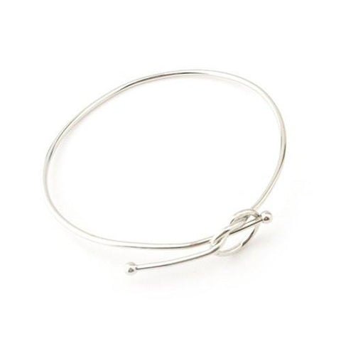 Stylish Solid Color Hollow Out Bowknot Adjustable Bracelet For Women   Silver White