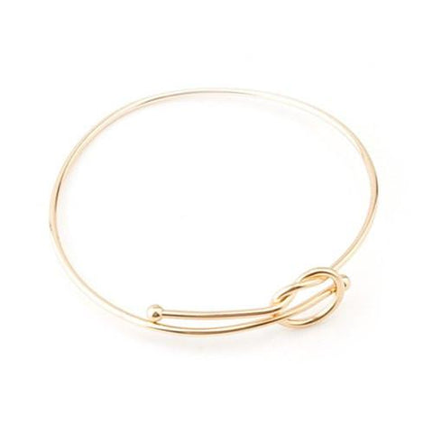 Stylish Solid Color Hollow Out Bowknot Adjustable Bracelet For Women   Golden
