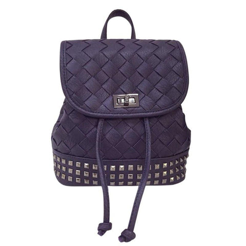 Stylish Women's Satchel With Weaving and Rivet Design   Deep Blue
