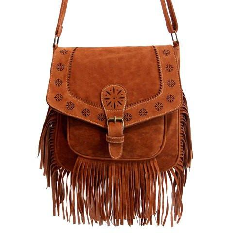 Vintage Women's Crossbody Bag With Buckle and Engraving Design   Brown