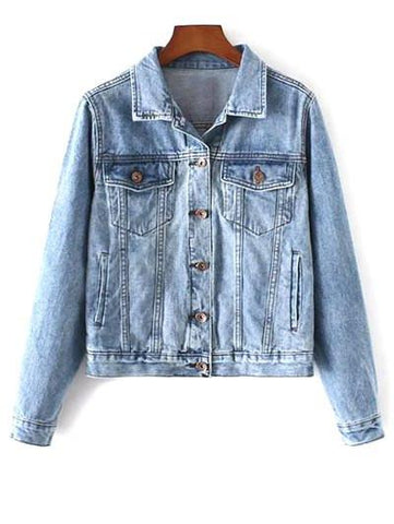 Stylish Shirt Neck Pockets Denim Women's Jacket Denim Blue