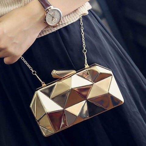 Stylish Women's Evening Bag With Solid Color and Geometric Pattern Design   Golden