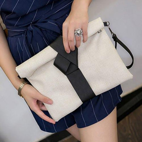 Simple Women's Clutch Bag With Magnetic Closure and PU Leather Design   Off-White