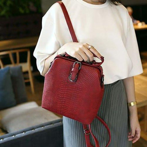 Stylish Women's Satchel With Buckle and Embossing Design   Red